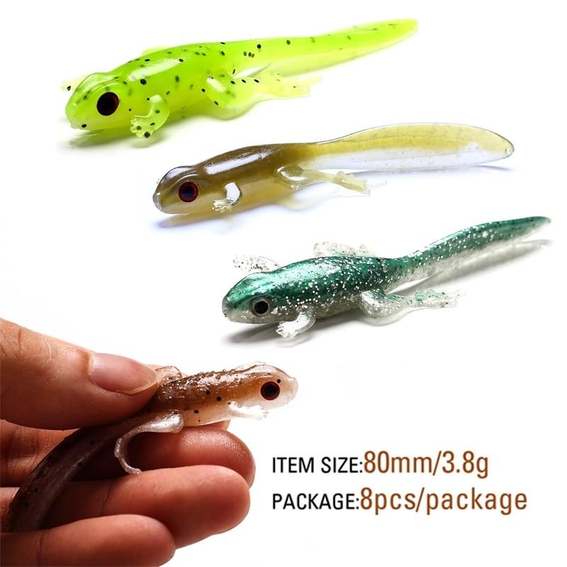 soft lure 3.8g/ 80mm Soft Plastic worm Baits for Largemouth Bass Fishing jigging 8pcs/lot