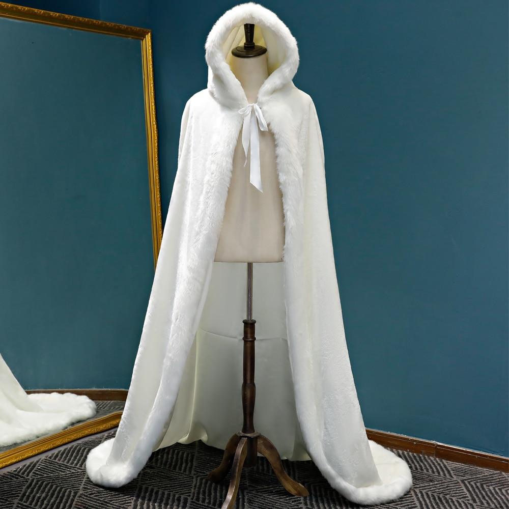 Winter Long warm Wedding capes white wedding cloak Floor Length Bride shawl Faux fur cape coat adult Bridal Wrap