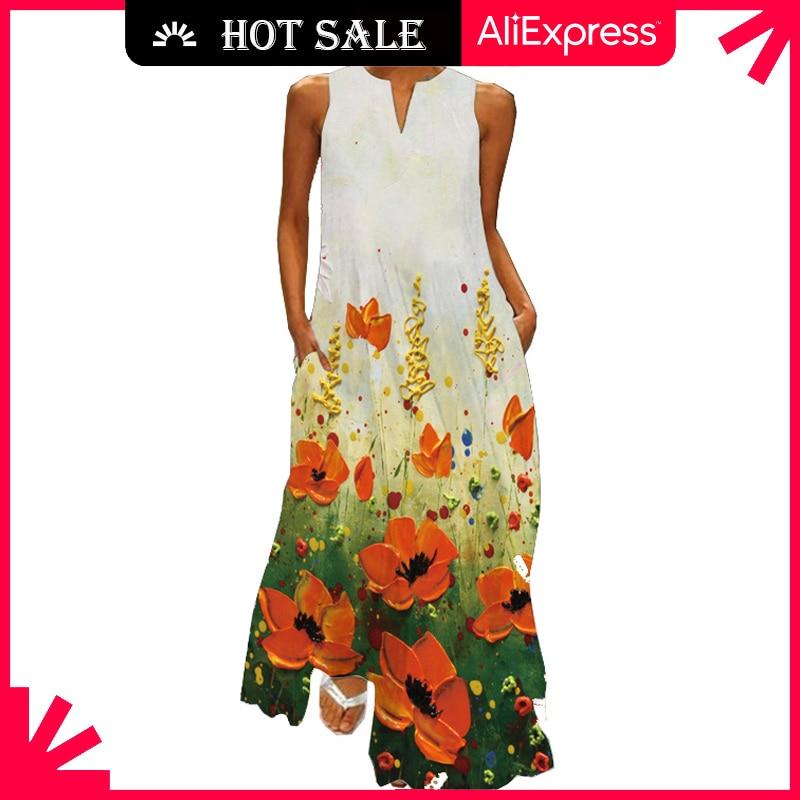 MOVOKAKA Fashion V Neck Sleeveless Dress 2021 Robe Casual Plus Size Long Dresses Summer Woman Girl H