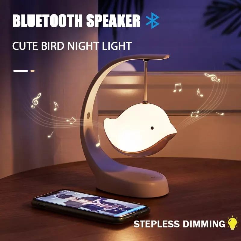 LED Night Light Bluetooth Speaker USB Multi-Color Stepless Dimming Cute Bird Lamp For Baby Children Kids Bedroom Decoration Gift
