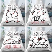 classic white rabbit pattern bedding set 23 pcs duvet cover sets 2021 cute animal lovely style quilt covers and pillowcase