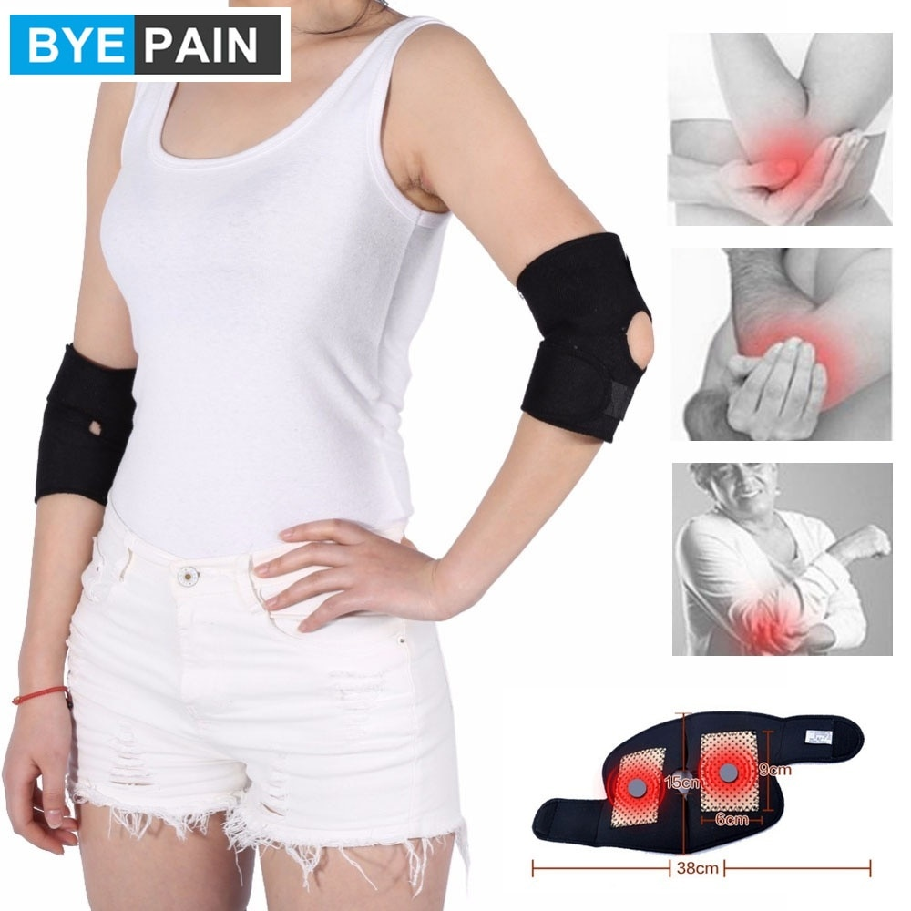 1Pair BYEPAIN Tourmaline Magnetic Therapy Self Heating Elbow Pad Elbow Support Belt Brace Breathable and Comfortable