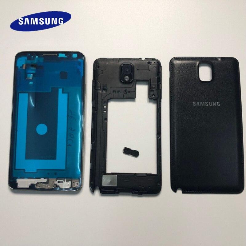 Carcasa completa note3, marco de placa frontal, soporte LCD + carcasa trasera + marco medio para Samsung Galaxy Note 3 N9005 N9006