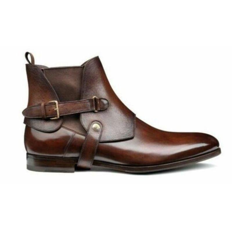2021 Men PU Leather New Handmade Buckle Strap Shoes Classic Ankle Men Casual Fashion Autumn Combat D