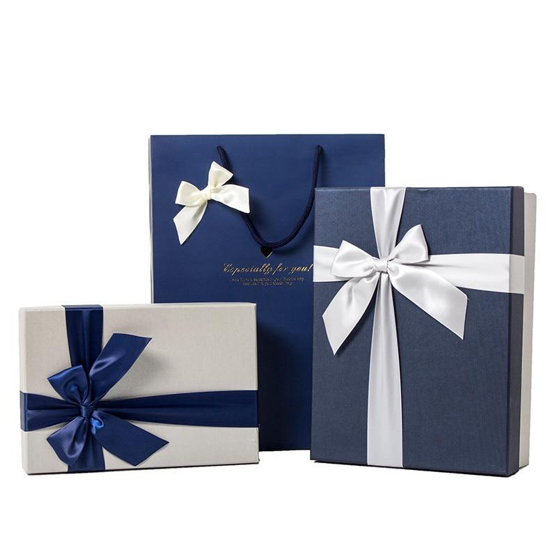 Caja de regalo de papel azul Simple, cajas de regalo para cumpleaños,...