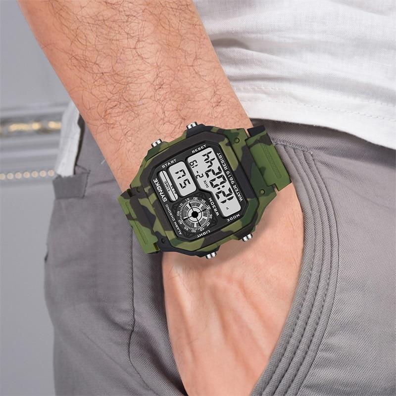 Мужские спортивные цифровые часы SYNOKE в стиле G-Shock, камуфляжные зеленые наручные часы с будильником и датой для мальчиков