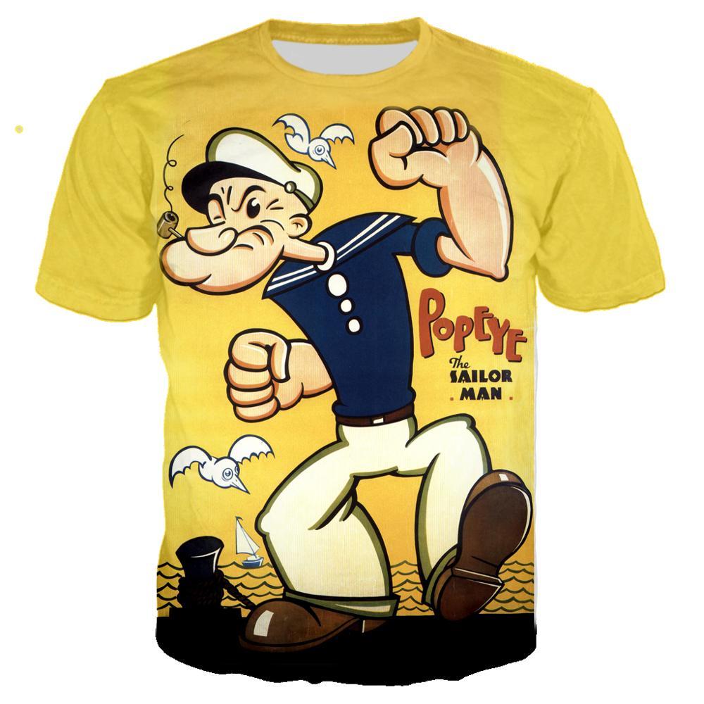 2020 NEW Funny Popeye T Shirt 3D Print Men/women Summer Streetwear T-shirt Men Punk Crewneck Tshirt Clothes Oversized Tops 6XL