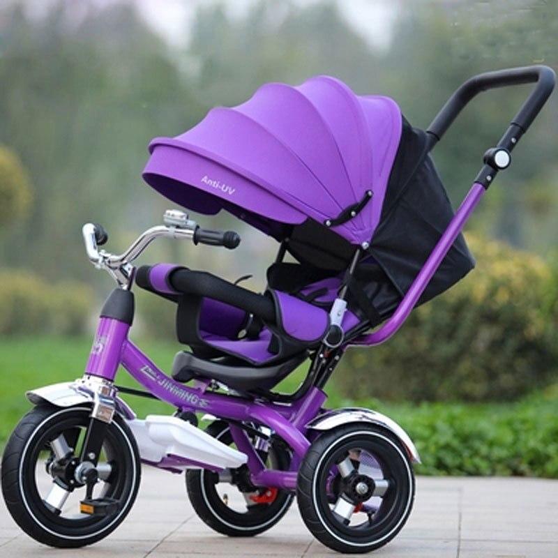 Детский трехколесный велосипед 3 в 1, плоская детская коляска, коляска, тройка, регулируемое поворотное сиденье, складной детский зонт, коляска