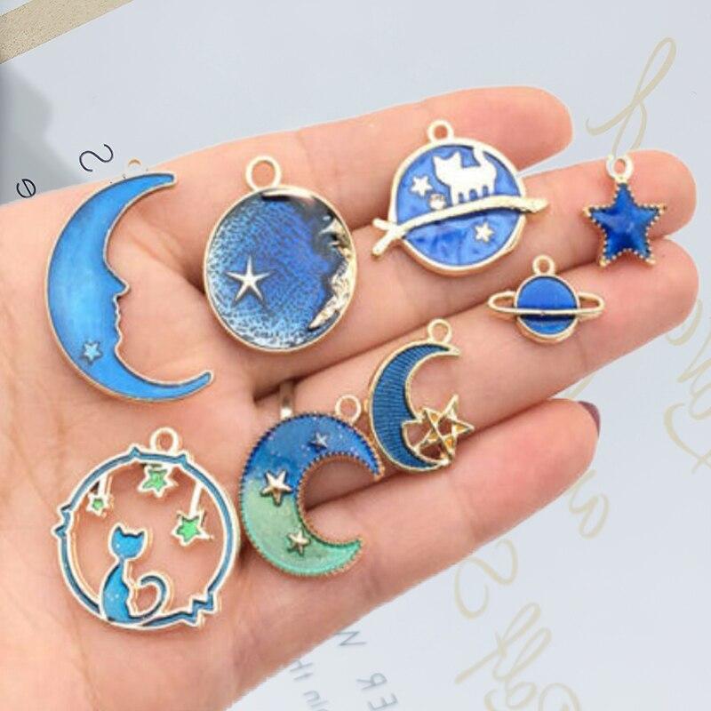 8 Uds. Colgante clásico Vintage de luna azul estrella planeta esmaltado para hacer joyería DIY pulsera pendientes collar artesanal