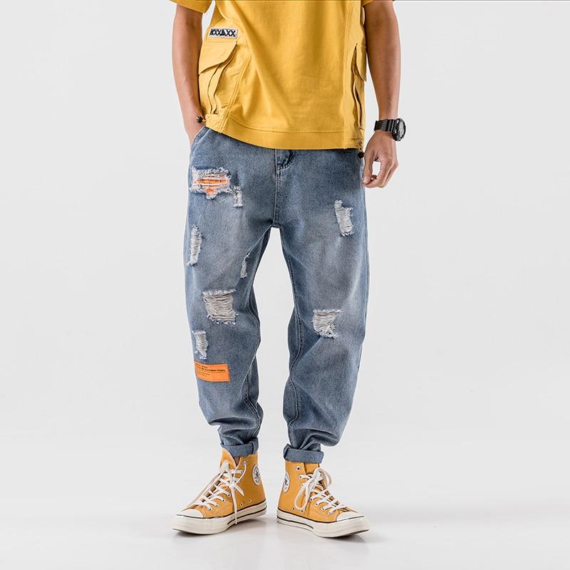 Ropa de calle suelta de hip hop iiDossan, pantalones vaqueros Harem para hombres, pantalones vaqueros con bolsillos para hombres, pantalones casuales regulares de moda coreana, ropa de calle calada, nuevo