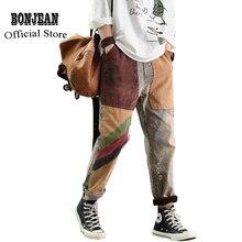 Femmes jean Denim pantalon bas en détresse Patchwork rétro Vintage mode décontracté longue grande ample pour printemps automne AZ37193318