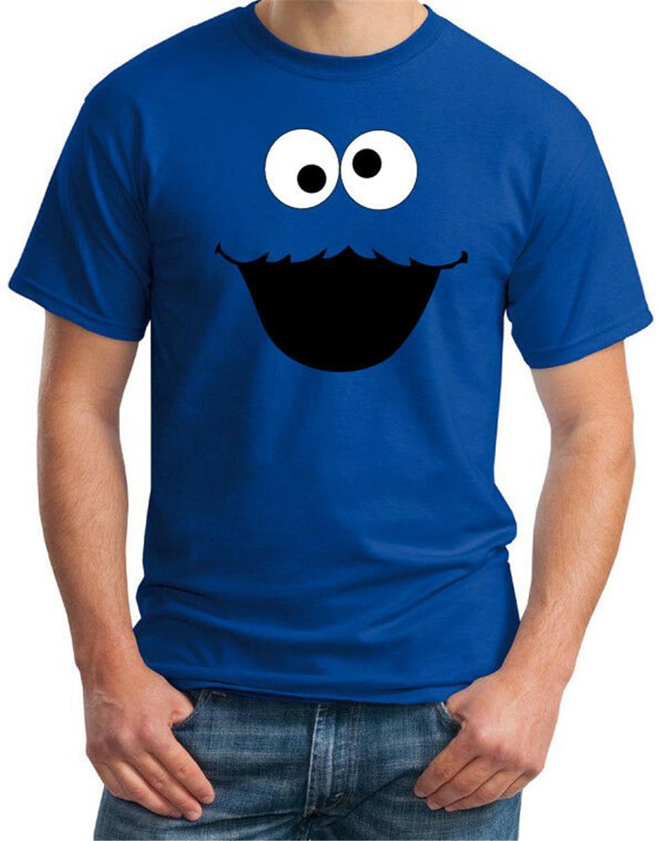 Biscoito monstro rosto engraçado dos homens azul traje festa retro diversão t camisa moda clássico camiseta