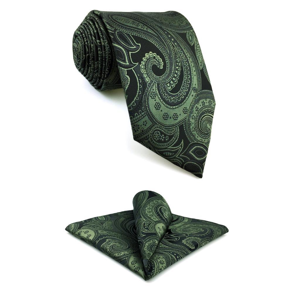 "Y30 Dark Green Paisley Classic Extra Long Mens Tie Set Silk Silk Ties for men 63"""