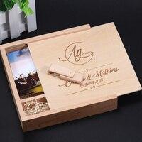 JASTER Maple Wooden Squre Photo box & Maple usb 2.0 4GB/8GB/16GB/32GB/64GB memory flash stick (Custom logo)