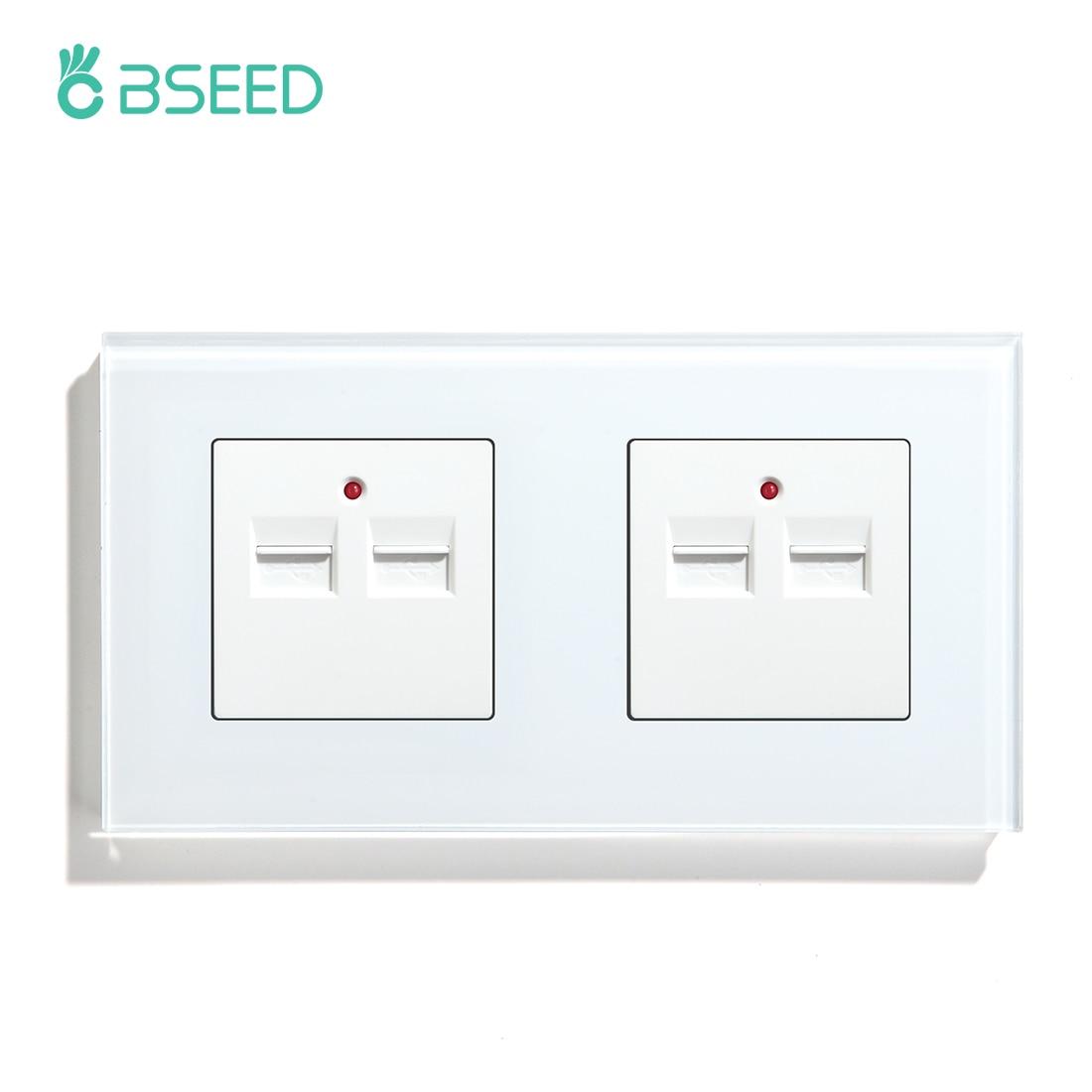 BSEED-مقبس حائط USB مزدوج ، قابس قياسي أوروبي 5 فولت 3.1 أمبير ، لوحة زجاجية كريستالية ، أبيض ، أسود