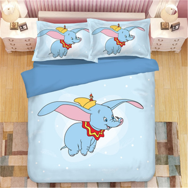 Disney dumbo conjuntos de cama rainha rei tamanho adulto crianças dos desenhos animados do natal conjunto cama capa edredão fronha