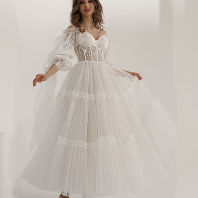 Midi Length Wedding Dress Elegant Lace Long Flowy Dress Corset Bride Dresses Sweetheart Pleat Bridal Gowns A-line Robe De Mariee