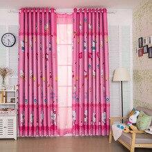 Rideaux dessin animé pour chambre à coucher   Rideaux princesse rose pour enfants, fenêtre de chat, panneau imprimé, pour chambre de bébé pour salon