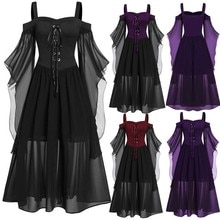 Robe longue de soirée pour femmes, grande taille, épaules dénudées, manches papillon, Style gothique, Halloween, Costume à nœud papillon, collection à lacets