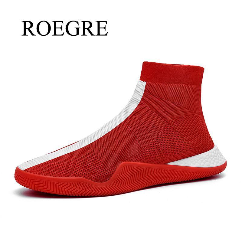 High Top Sock Shoes Men Breathable Flying Weaving Flats Platform Men Casual Shoes Men Walking Slip-on Footwear Zapatos Hombre