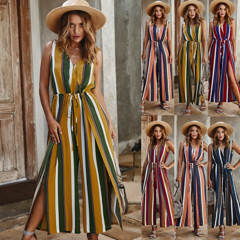 Boho Summer Sexy Elegant Sleeveless Jumpsuit Rompers Women Casual Striped Beach Paety High Split Wide Leg Pants Overalls Female plus button front striped wide leg cami jumpsuit
