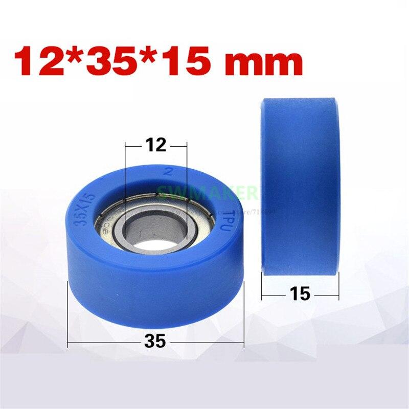 1 pces 12*35*15mm plutônio poliuretano 95a borracha macia revestida 6001 rolamento roda/rolo liso, roda de guia mudo