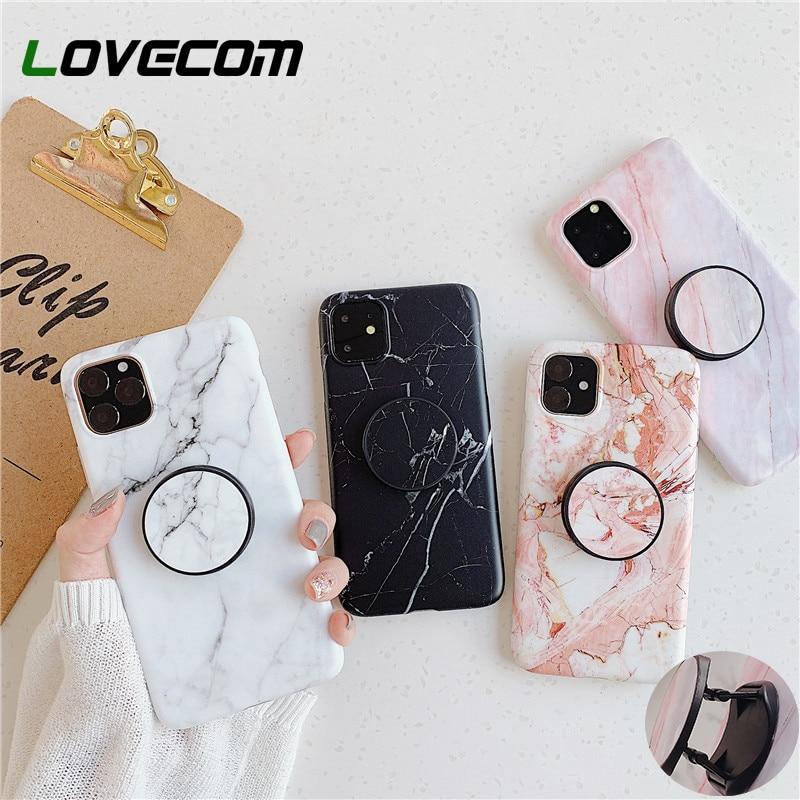 LOVECOM Geometrische Marmor Stand Halter Telefon Fall Für iPhone 11 Pro Max XR X XS Max 7 8 6S plus Fall Weiche IMD Telefon Zurück Abdeckung