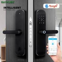 RAYKUBE Fingerprint Door Lock Smart Phone APP TT lock Bluetooth / Wifi Tuya Password Code IC Card Unlock Keyless Security Mortis