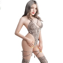 DROZENO Leopard print strappy hollow cosplay sexy prom queen dress sexy tights Sexy tights + bandage