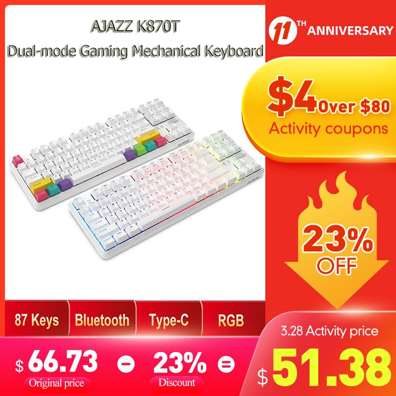 AJAZZ K870T 87 Keys RGB Mechanical Keyboard Wireless bluetooth + Type-C Dual Mode Mechanical Switch Gaming Keyboard For PC