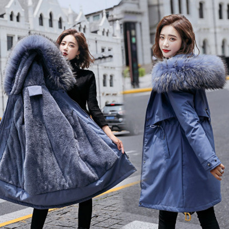 autumn winter mens wool liner long hooded parka warm printed thick coat casual size m xxxxxl t188 Women Winter Warm Mid-Long Jackets Hooded Parka Thick Jacket Wool Liner Parkas New Female Plus Size M-6XL Fur Solid Cotton Coat