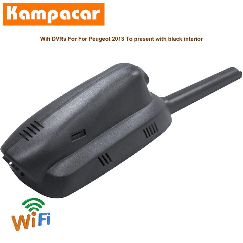 Cámara de salpicadero para coche con Wifi Kampacar, cámara de salpicadero Dvr para Peugeot 3008 HYbrid4 GT I MK1 5008 suv 2013 a 2020 Y grabadora HD Dashcam