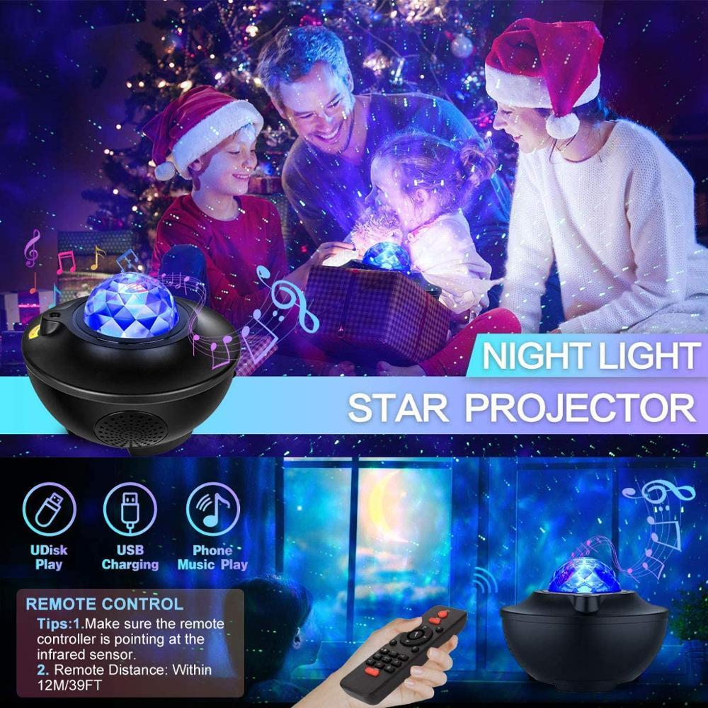 Star Light Projector Kids Night Light Music Star Water Wave LED Projector Decoration Lighting Galaxy Bluetooth Lights Decor enlarge