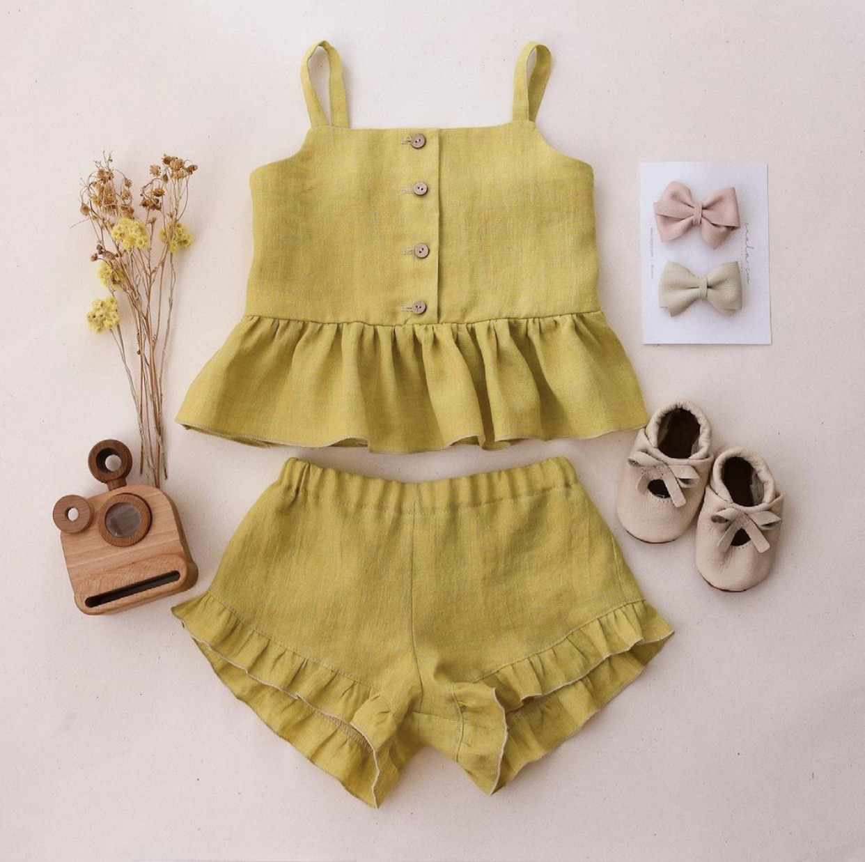 New Baby Girl Suits Summer Clothes Tops+Shorts Vest Harness Falbala Cotton Linen Solid Color Outfits Bebe Infant Clothing Sets
