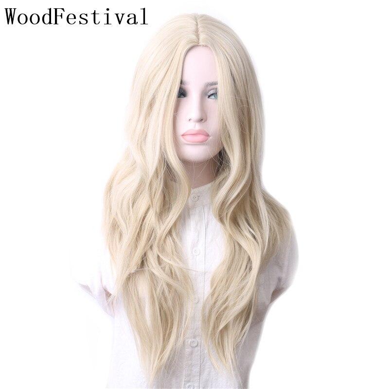 WoodFestival Women Wigs Blonde Grey Green Purple Brown Black Heat Resistant Long Hair Mix colors Wavy Synthetic Cosplay Wig