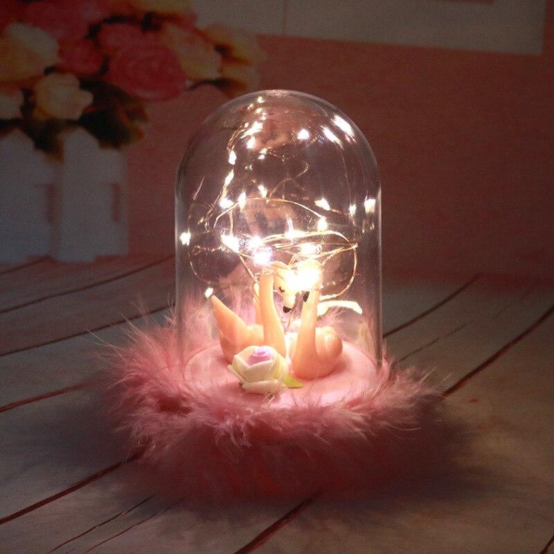 Creative Ins różowe flamingi lampka nocna z świecąca gwiazda światła dekoracja sypialni lampka nocna dla dziewczynek dzieci Xmas urodziny prezenty