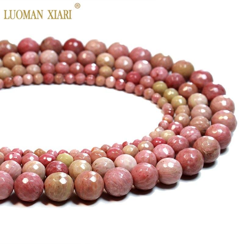 Atacado 100% natural rhodochrosite facetado contas de pedra redonda para fazer jóias diy colar pulseira 4/6/8/10mm strand 16