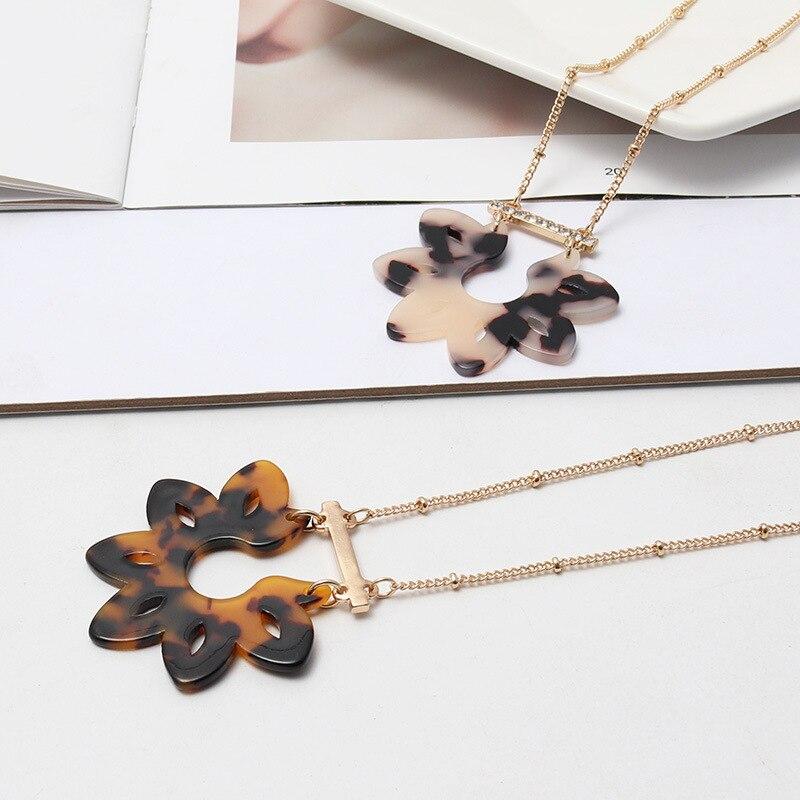Moda acético ácido acrílico resina flor pingente de cristal barra encantos colar acessórios geométricos jóias do corpo
