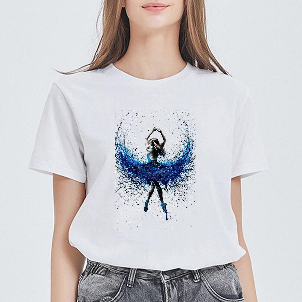 Divertida Camiseta de moda para Mujer, Camiseta de baile de Ballet, Camiseta informal para Mujer, Harajuku, ropa de calle, Tops estéticos, ropa elegante para Mujer