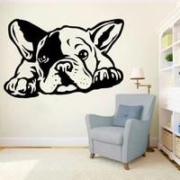 Autocollants muraux en vinyle chien bouledogue francais  papier peint auto-adhesif  decoration de maison  salon  chambre a coucher  Animal  mode  Y814