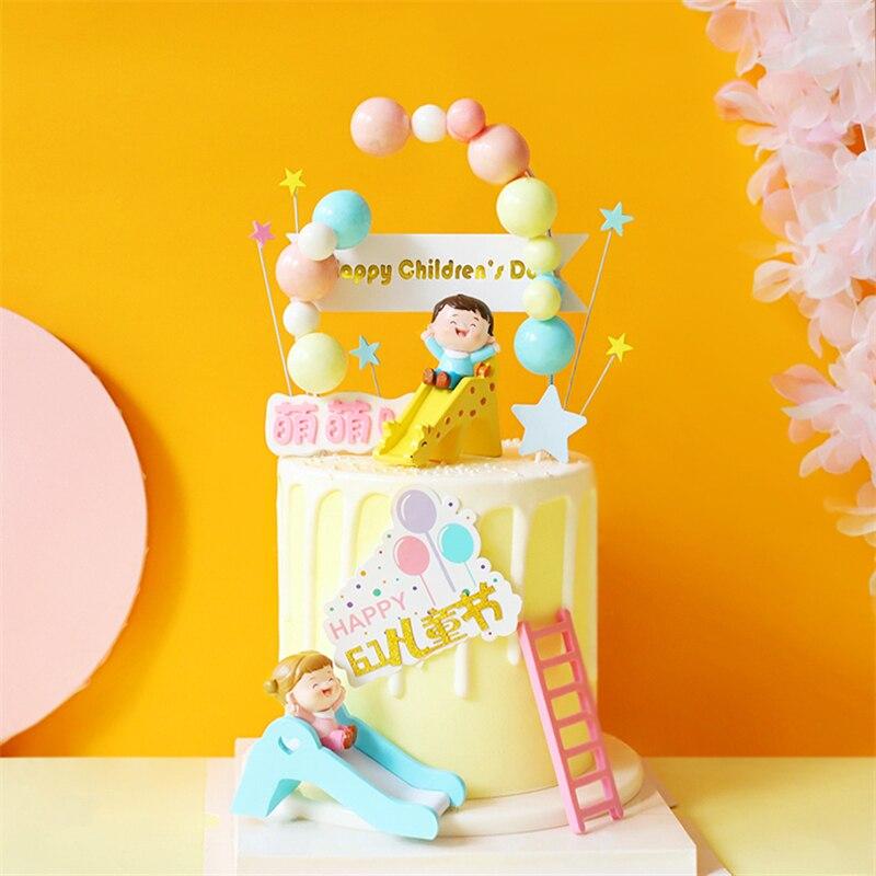 Arco Iris bola colorida niño niña torta Topper para decoraciones para fiesta de cumpleaños escalera suministros de postre horneado