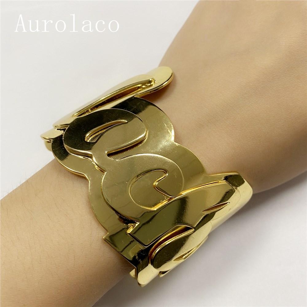 AurolaCo-سوار شخصي من الفولاذ المقاوم للصدأ مع لوحة اسم ، للنساء