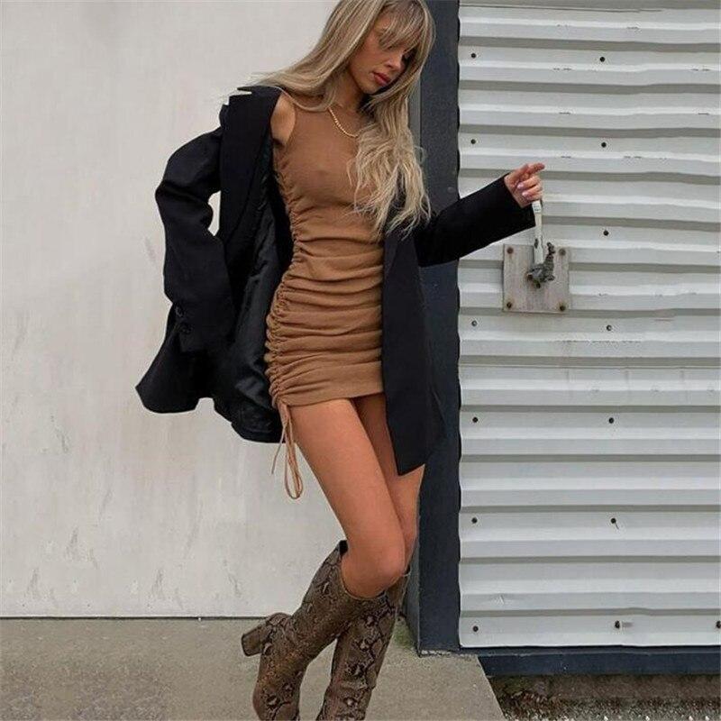 Alsyiqi moda feminina sólida cintas de espaguete sem costas vestidos sexy comprimento inferior ajustável senhoras casual vestido novo