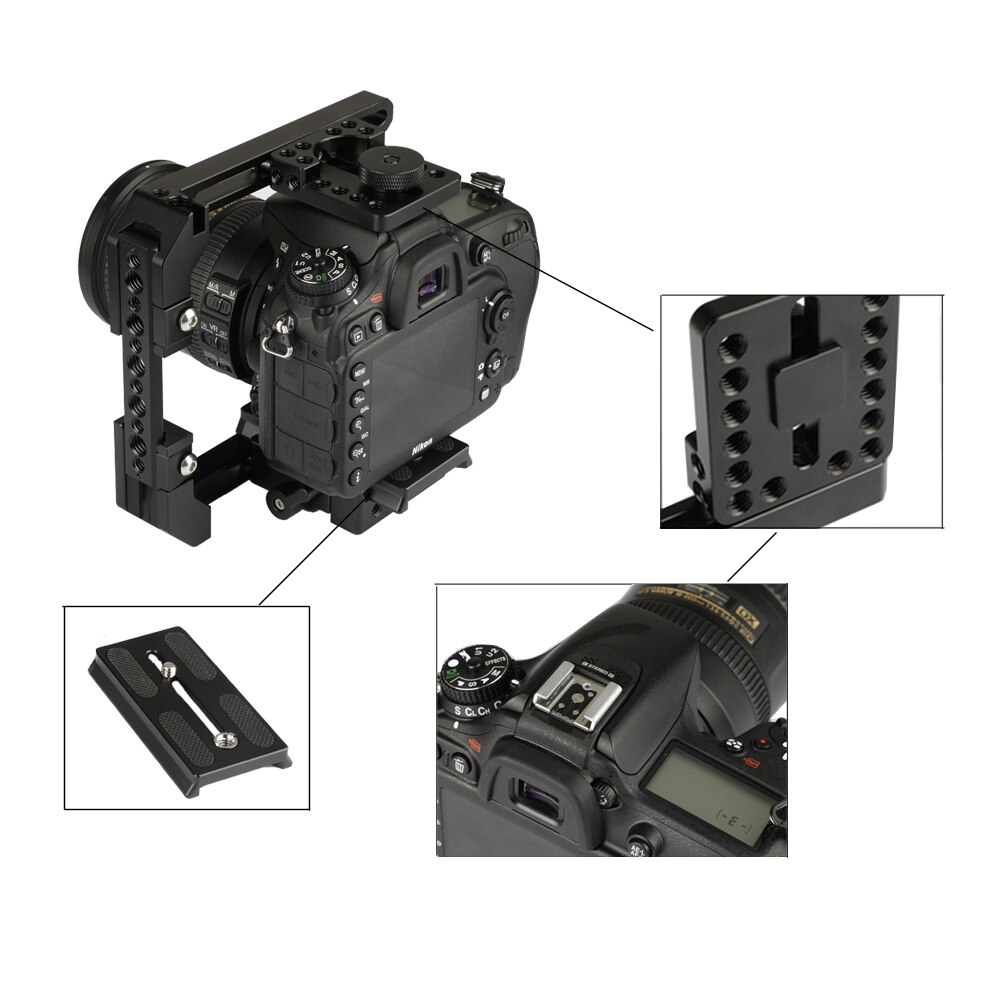 CAMVATE Camera C-frame Cage Rig With Manfrotto Quick Release Baseplate & NATO Safety Rail Cheese Bar & Top/Bottom Cross Bar New enlarge