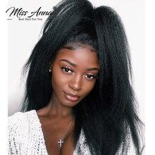 MissAnna 13x6 dentelle avant humain haute cheveux perruques brésilien Remy cheveux crépus droite pré plumée avec des cheveux de bébé