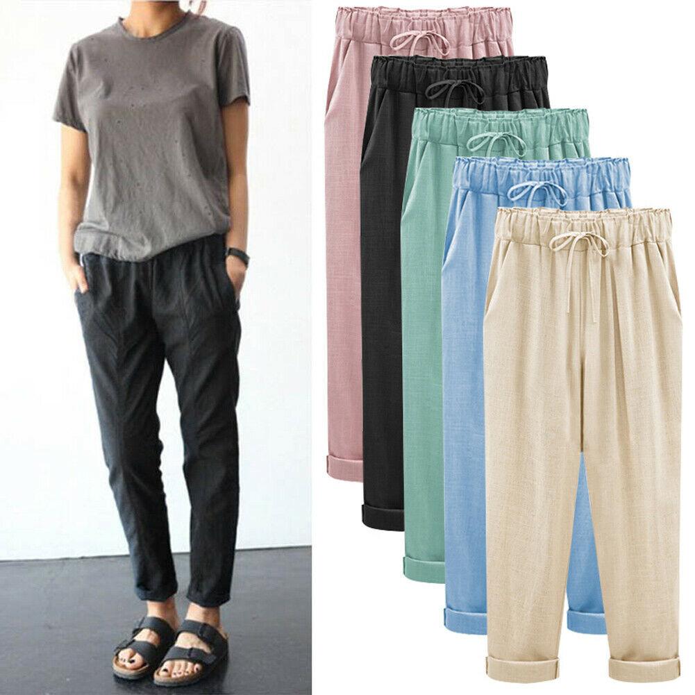 Plus Size 6XL Women Casual Elastic Solid Jogger Dance Harem Pockets Loose Pants Baggy Slacks Trousers Sewatpants