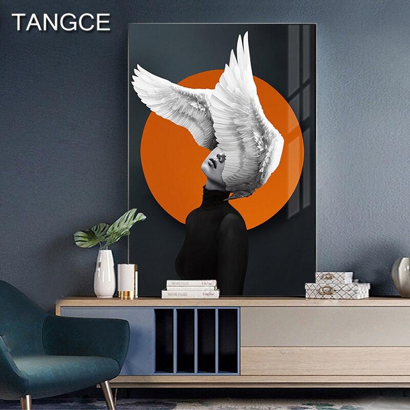Abstracto flor menina pintura moderno laranja cartaz impressão pena mulher salão de arte da parede para sala estar entrada moda casa deco