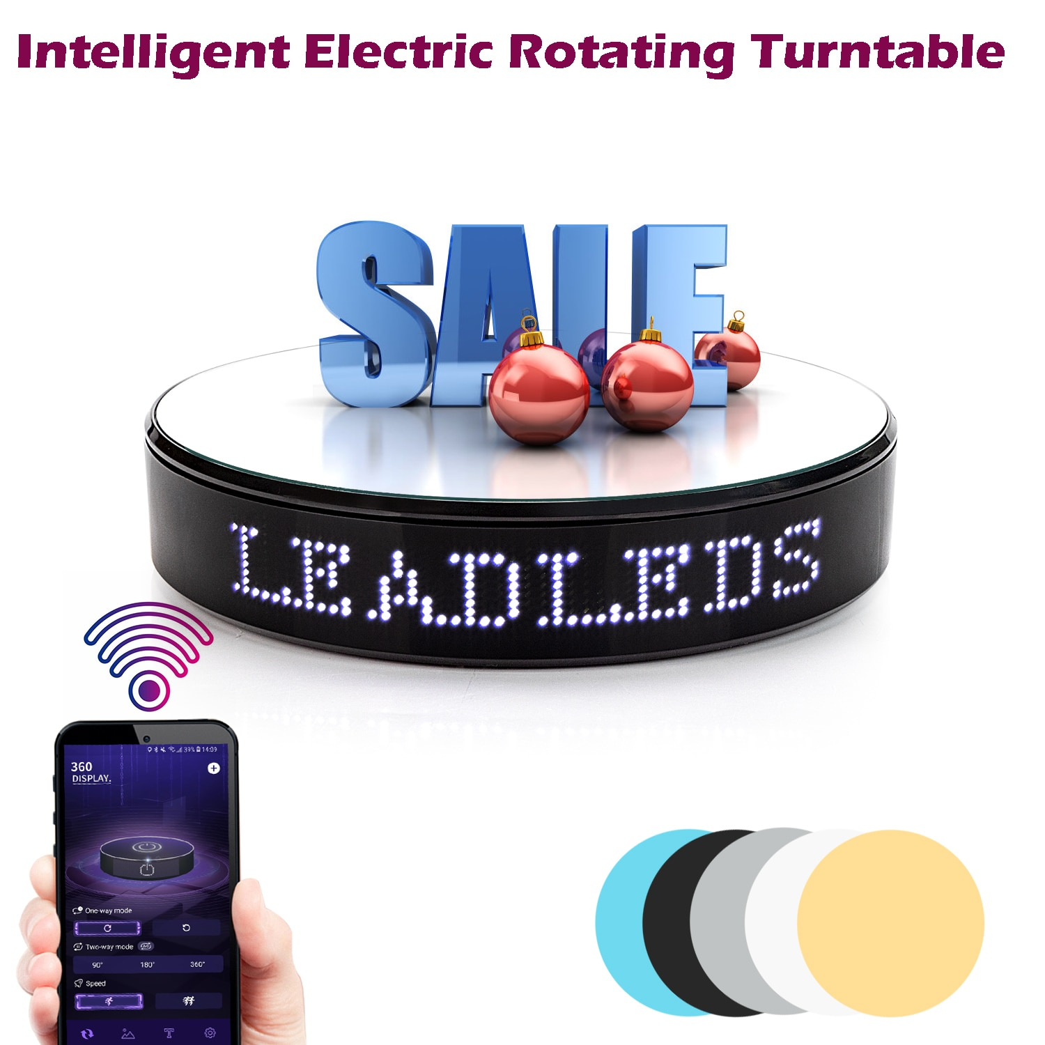 New 5kg LED Display Text Turntable Stand 20CM 360 Degree Electric LED Rotating Table with LED Display Message Video Shooting