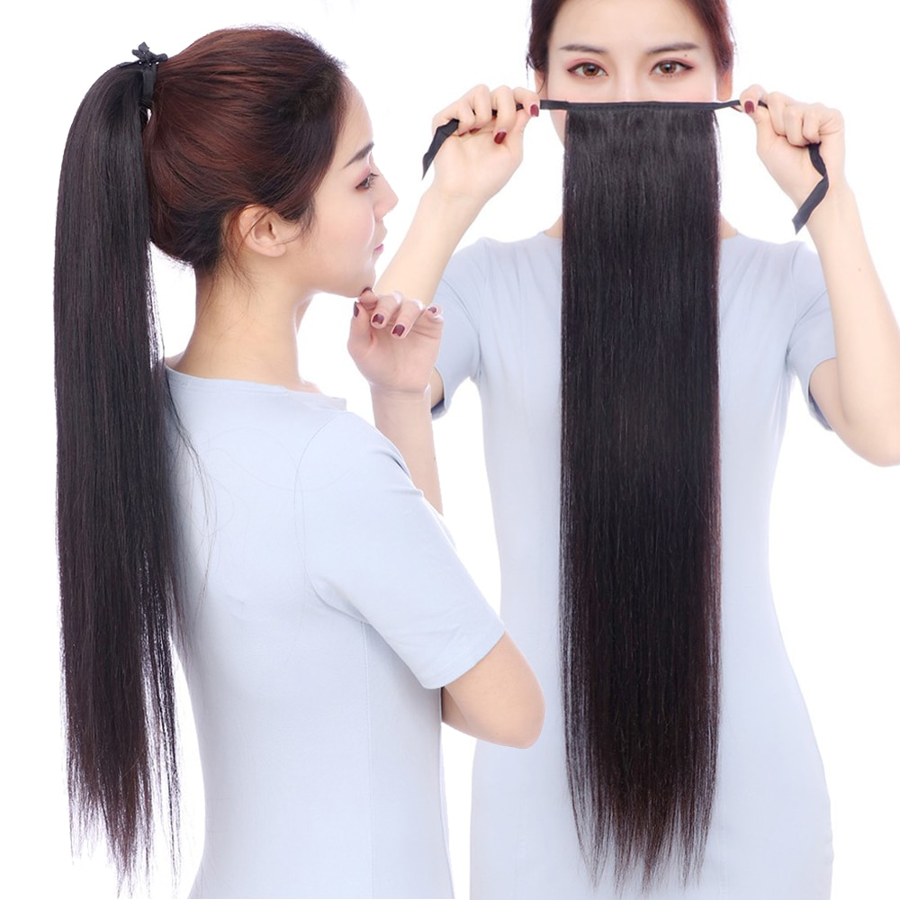 Soowee extensão de cabelo sintético, 22 polegadas, rabo de fada, cavalo loiro