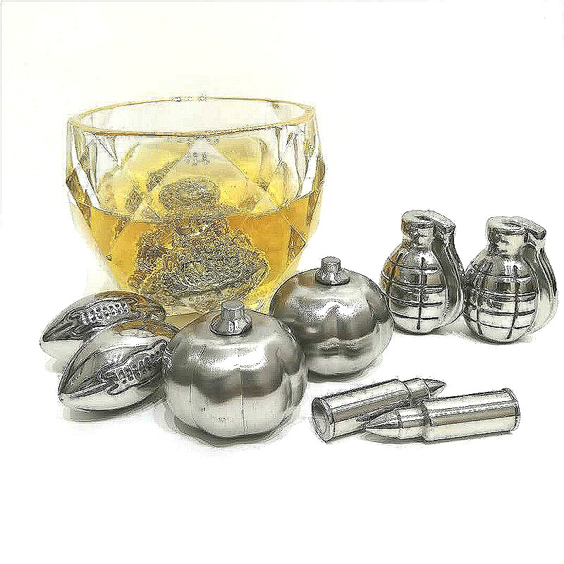 4 pçs/set pedra de resfriamento aço inoxidável abóbora crânio bala granadas forma de futebol gelo whiskey cooler barra ferramentas 6 pçs/set